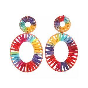 ANTHRO Baublebar • Kiera Raffia Rainbow Earrings